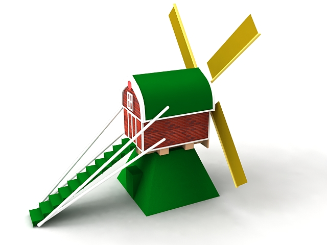 Cartoon Windmill House 3d model