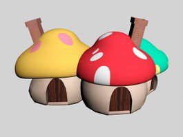 Cartoon Mushroom House 3d model