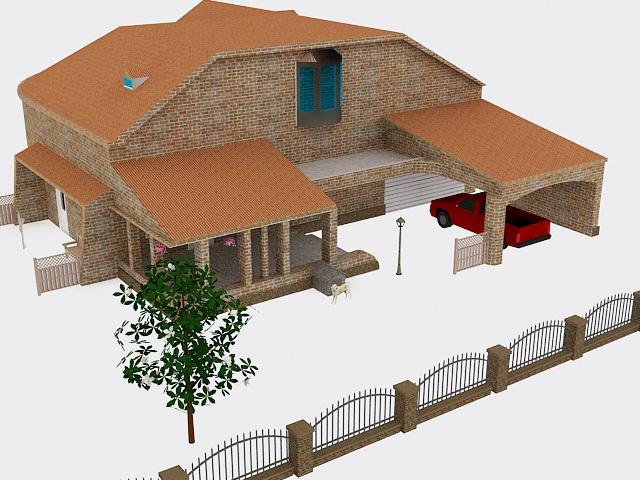 Red Brick House 3d model