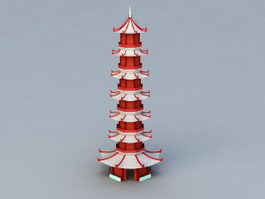 Red Pagoda 3d model