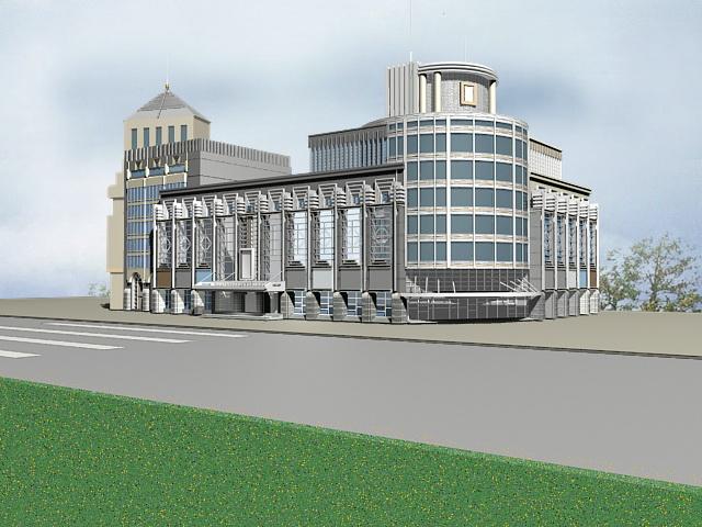 Commercial Retail Center Architecture 3d model