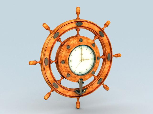 Wood Helm Wall Clock 3d model rendered image
