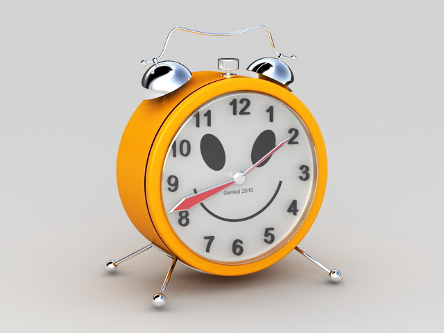 Orange Alarm Clock 3d model rendered image