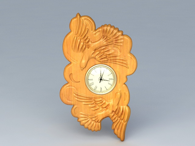 Wood Carving Wall Clock 3d model rendered image