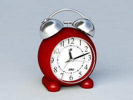 Vintage Red Alarm Clock 3d model