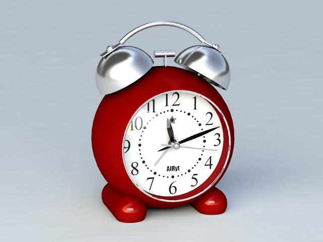 Vintage Red Alarm Clock 3d model rendered image