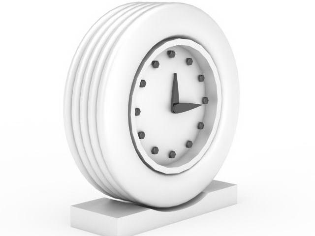 White Clock 3d model rendered image