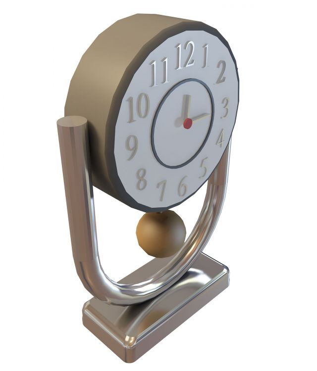 Retro Desk Clock 3d model rendered image