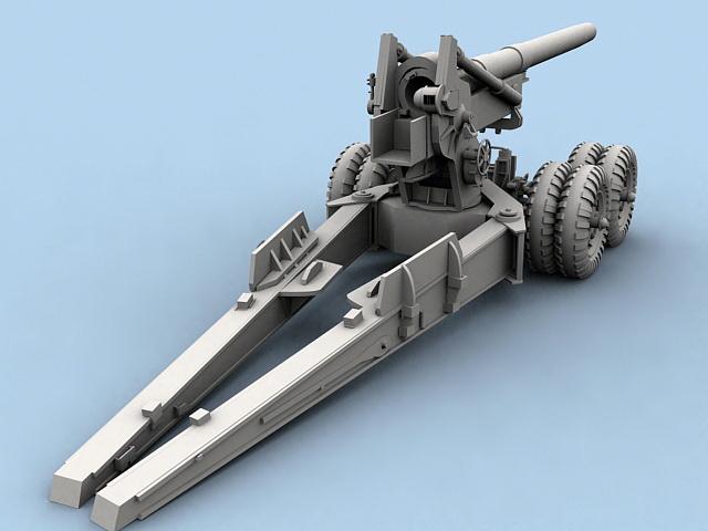 Field Howitzer 3d model rendered image