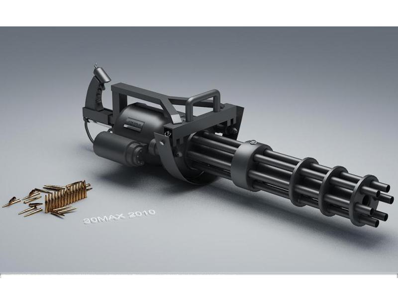 Gatling Gun 3d model rendered image