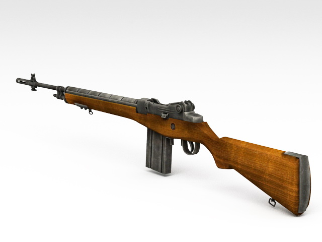 Old Military Rifle 3d model rendered image