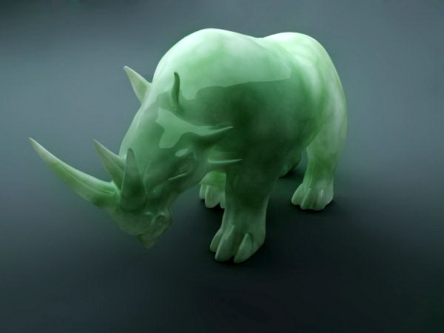 Green Jade Carved Rhino 3d model rendered image