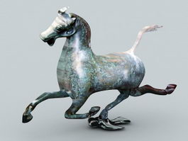 Antique Bronze Horse Statue 3d model
