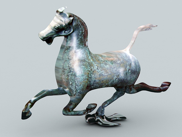 Antique Bronze Horse Statue 3d model rendered image