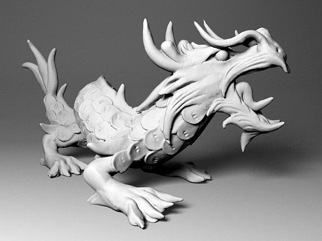 Japanese Dragon Sculpture 3d model rendered image