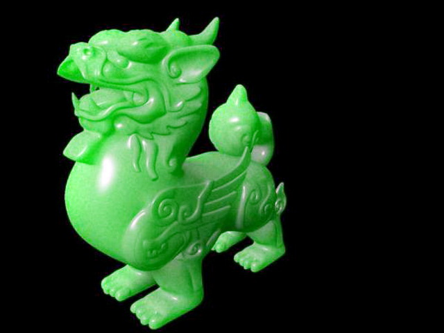 Carved Jade Quilin 3d model rendered image