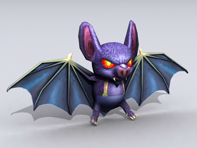 Devil Bat Cartoon 3d model rendered image