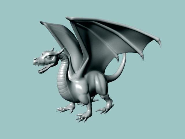 European Dragon 3d model rendered image