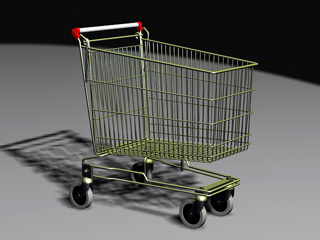 Grocery Shopping Cart 3d model rendered image