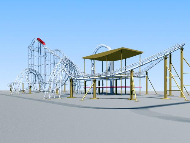Roller Coaster 3d model rendered image