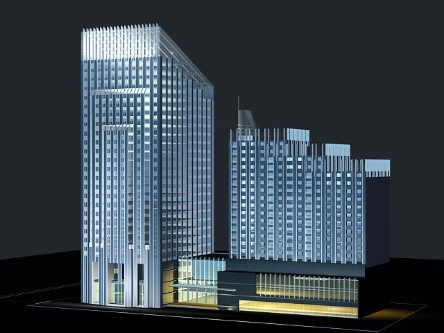 Hotel at Night 3d model