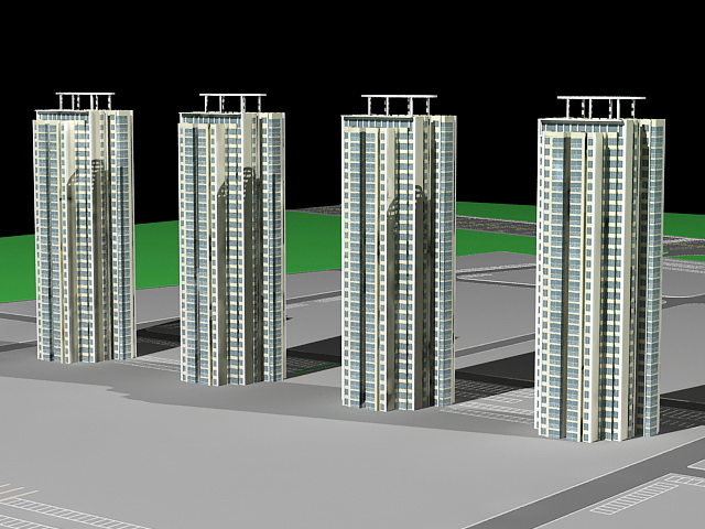 High-Rise Condominium Buildings 3d model