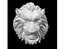 Lion Head Relief Sculpture 3d model