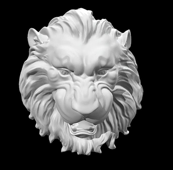 Lion Head Relief Sculpture 3d model rendered image