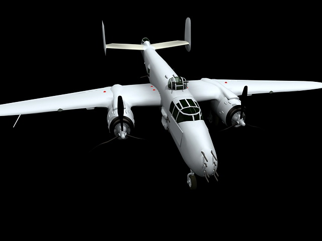 B-25 Bomber Aircraft 3d model rendered image