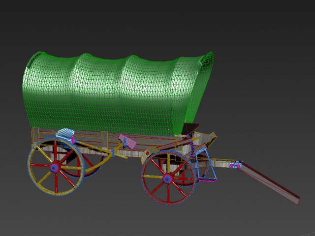 Covered Wagon 3d model rendered image