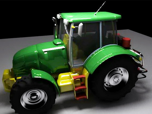 Old Green Tractor 3d model rendered image