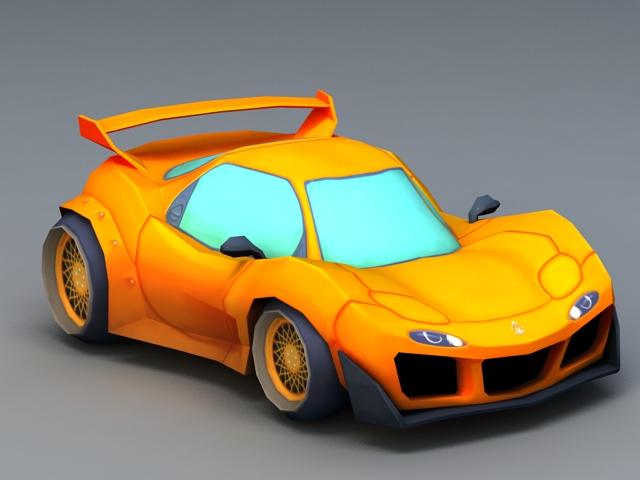 Cartoon Race Car 3d model rendered image