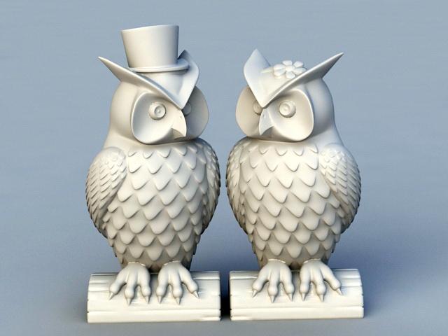Owl Couple Garden Statue 3d model rendered image