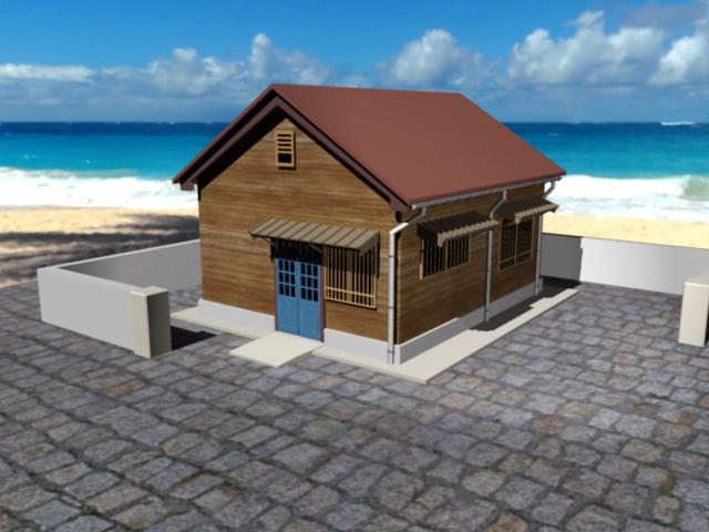 Small Beach Cabin 3d model