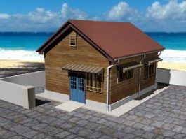 Small Beach Cabin 3d model