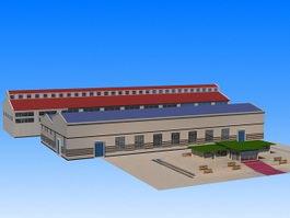 Industrial Warehouse Building 3d model