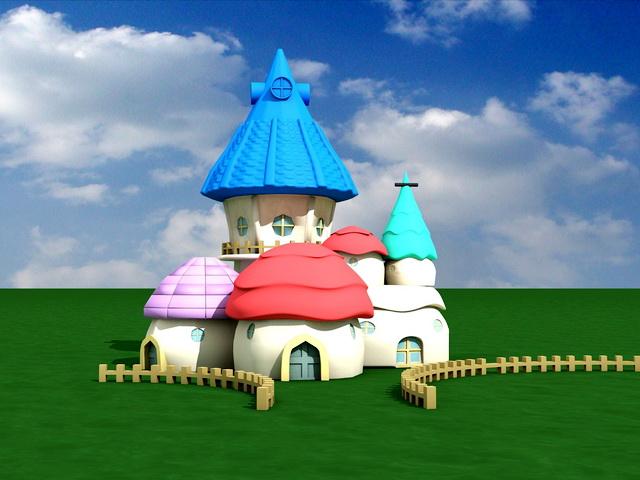 Fairy Mushroom Houses 3d model