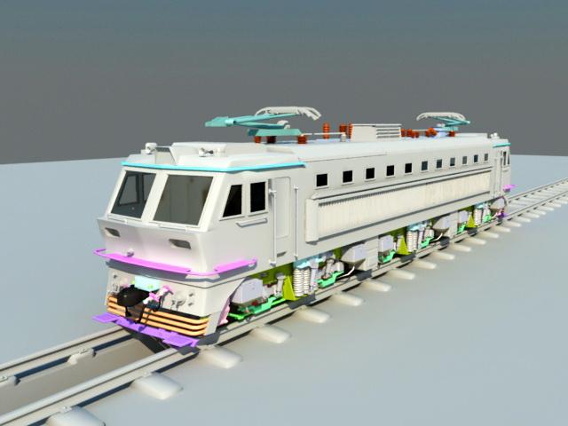 Electric Locomotive Engine 3d model rendered image
