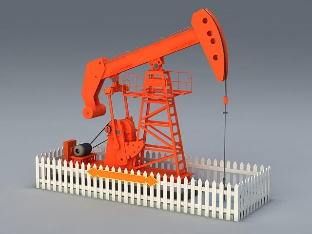Oil Pumpjack 3d model rendered image