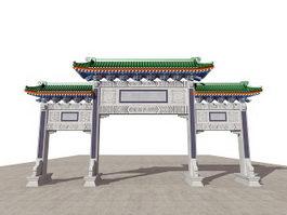 Ancient Chinese Paifang Gate 3d model