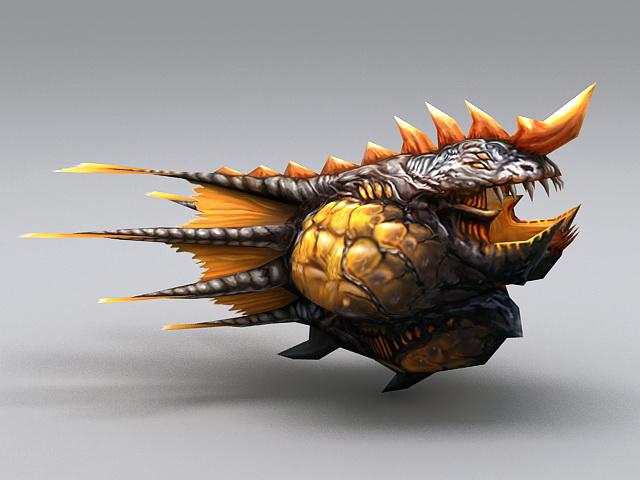 Sea Monster Fish 3d model rendered image
