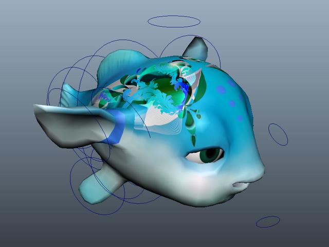 Animated Cartoon Fish 3d model rendered image
