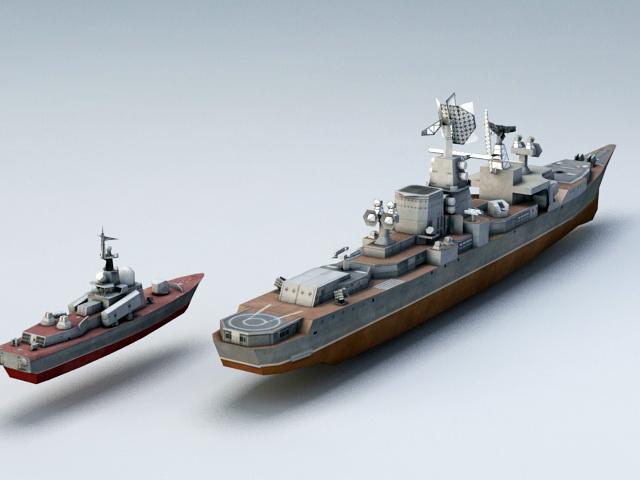 Cruiser Warship 3d model rendered image
