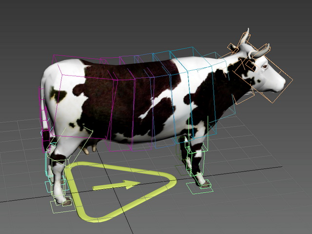 Black & White Cow Rig 3d model rendered image