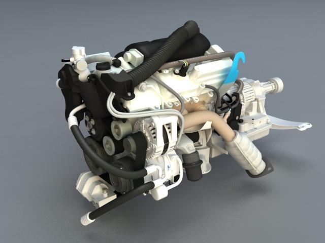 Diesel Engine 3d model rendered image