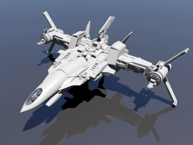 Space Sci-Fi Fighter 3d model rendered image