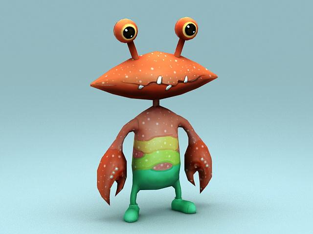 Crab Cartoon Character 3d model rendered image