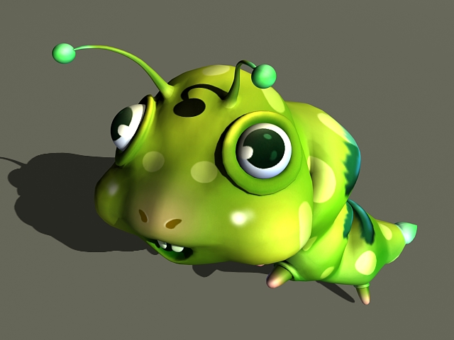 Cute Cartoon Worm Animation 3d model rendered image