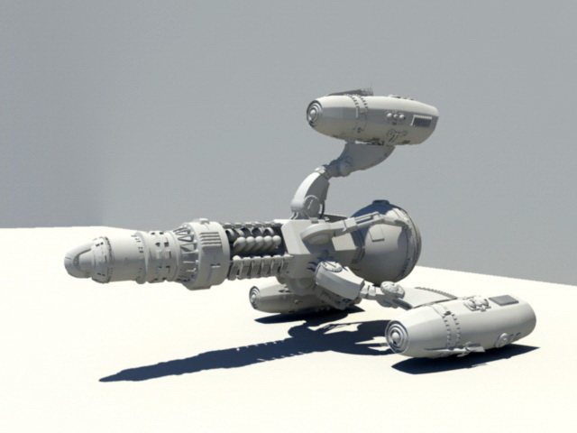 Sci-Fi Starship 3d model rendered image