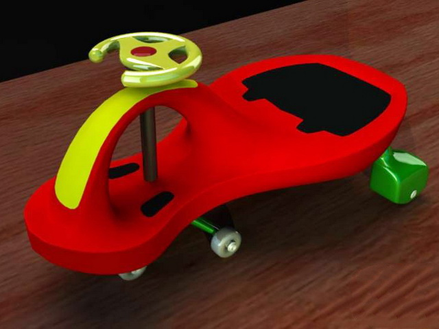 Plastic Tricycle 3d model rendered image